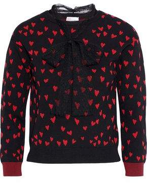 RED Valentino Point D'esprit-trimmed Jacquard-knit Top