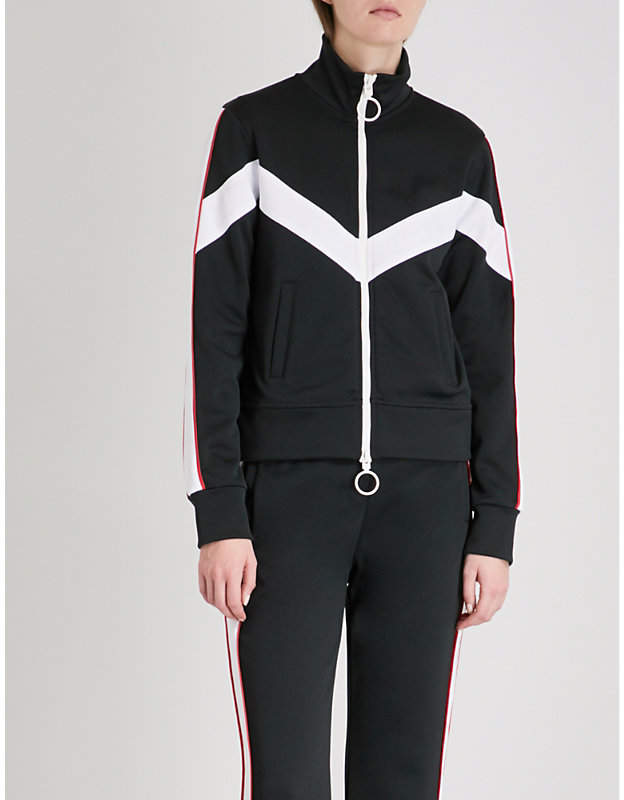 Contrast-tape jersey track jacket