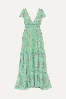 Eywasouls Malibu Kimi Rope-trimmed Floral-print Chiffon Maxi Dress - Mint