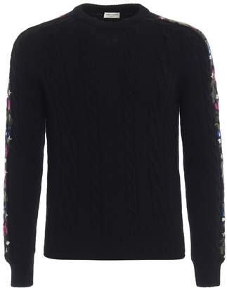 Saint Laurent Floral Intarsia Knit Sweater