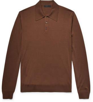 Prada Slim-Fit Knitted Virgin Wool Polo Shirt