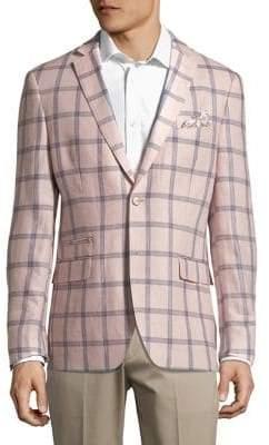 Tallia Orange Mason Slim-Fit Windowpane Sportscoat