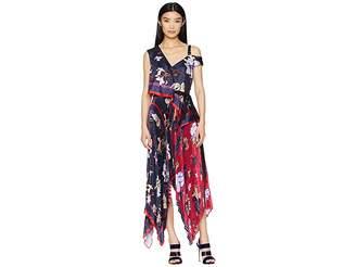 Yigal Azrouel Pleated Handkerchief Scarf Print Dress