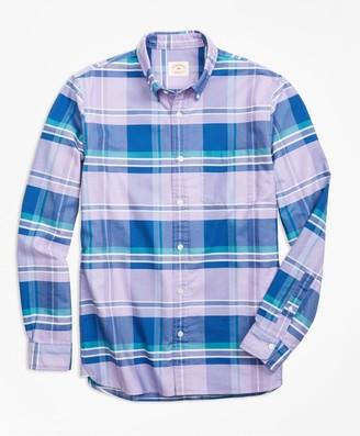 Brooks Brothers Madras Supima Cotton Oxford Sport Shirt