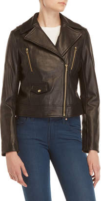 Cole Haan Black Leather Moto Jacket