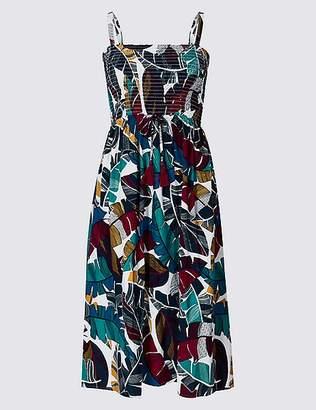 Marks and Spencer Leaf Print Woven Midi Beach Dress