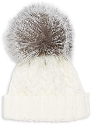 Adrienne Landau Women's Cable-Knit Fox Fur Hat
