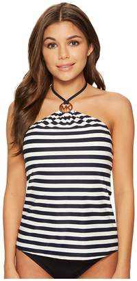MICHAEL Michael Kors Stable Stripe Logo Ring High Neck Bandini Top w/ Removable Soft Cups Women's Swimwear
