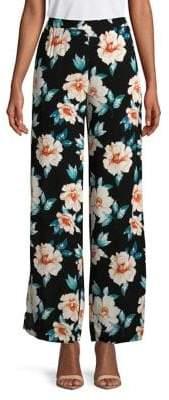 Design Lab Floral Cotton Wide-Leg Pants
