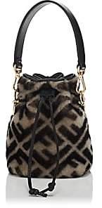 Fendi Women's Mon Tresor Mini Shearling Bucket Bag-Black