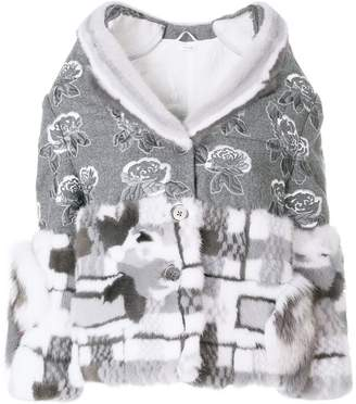 Thom Browne Floral Embroidery Mink Trim Overcoat