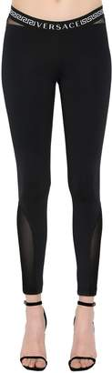 Versace Logo Stretch Nylon Jersey Leggings