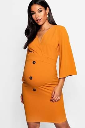boohoo Maternity Horn Button Kimono Sleeve Dress