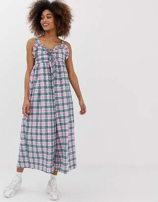 Sister Jane wide leg jumpsuit with tie front in contrast check
