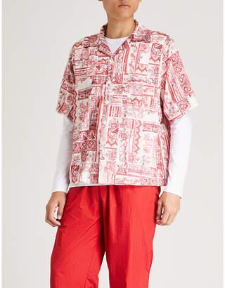 Mki Miyuki-Zoku Tile-print regular-fit satin shirt
