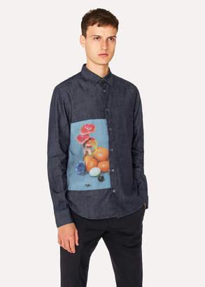Paul Smith Men's Slim-Fit Indigo Denim Shirt With Photographic Print