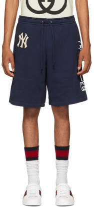 Gucci Navy NY Yankees Edition Patch Sweat Shorts