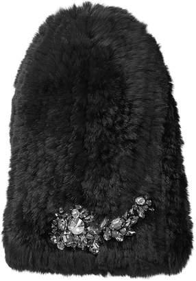 Jimmy Choo ELENA Black Fur Hat with Crystal Applique
