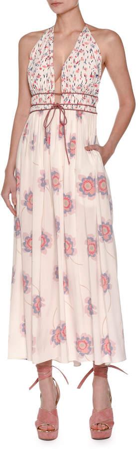 Agnona Floral-Print Tie-Waist Halter Dress, Ivory
