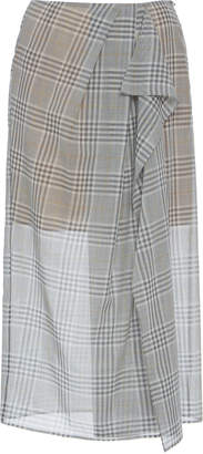 Agnona Checked Wool-Silk Voile Drape-Front Midi Skirt Size: 36