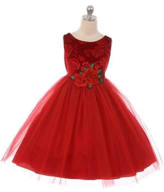 Kids Dream Velvet Rose Patch Girl Dress Red