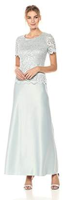Alex Evenings Women's Lace Mock Dress with Satin Skirt (Petite and Regular Sizes)