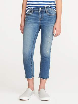 Old Navy Distressed Raw-Edge Skinny Ankle Jeans for Girls