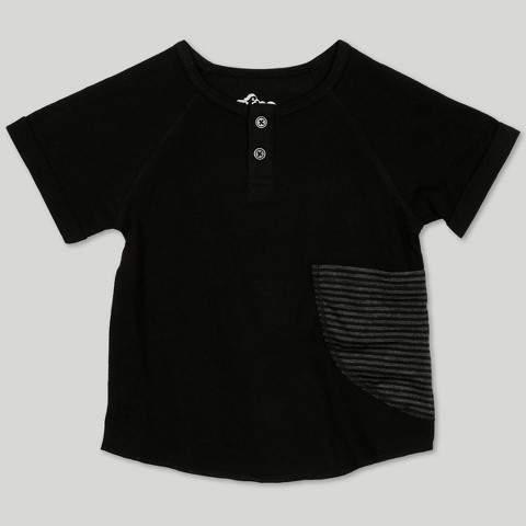 Afton Street Toddler Boys' Afton Street Short Sleeve Raglan Henley - Black