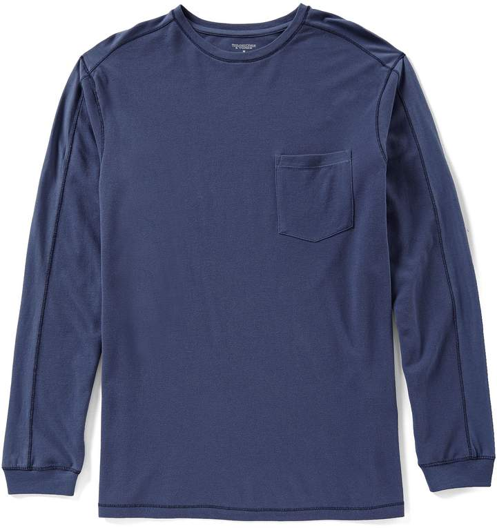 Roundtree & Yorke Long-Sleeve Solid Pieced Pocket Crew Pullover