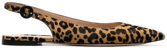 Gianvito Rossi leopard print calf hair slingback flats