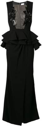 Elisabetta Franchi sheer panel long dress