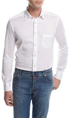 Kiton Piqué Knit Oxford Shirt, White