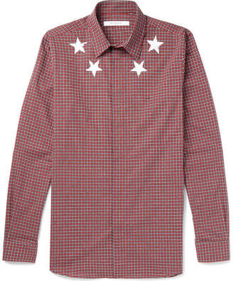 Givenchy Printed Checked Cotton Shirt - Red