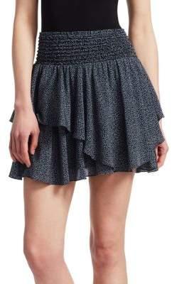 Halston Smocked Waist Ruffled Miniskirt