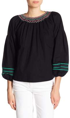 Joie Ghada Embroidered 3/4 Sleeve Blouse