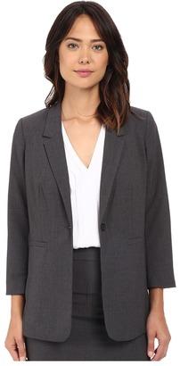 kensie - Heather Stretch Crepe Longer Blazer KS2K2125 Women's Jacket $99 thestylecure.com