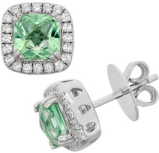 5th & Main Platinum-Plated Sterling Silver Facet-Cut Green Obsidian Pave CZ Earrings