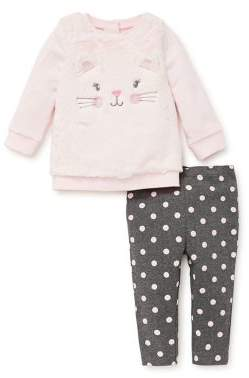 Little Me Baby Girl's Two-Piece Kitty Sweater & Leggings Set