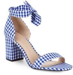 Gingham Tie-Strap Block Heel Sandals