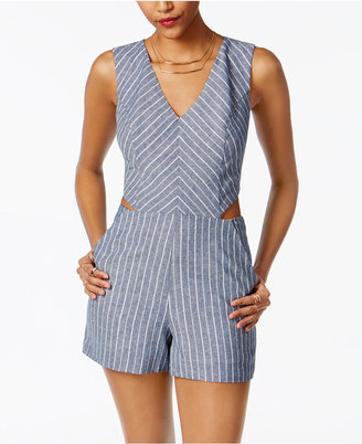 XOXO Juniors' Striped Side-Cutout Romper $69 thestylecure.com