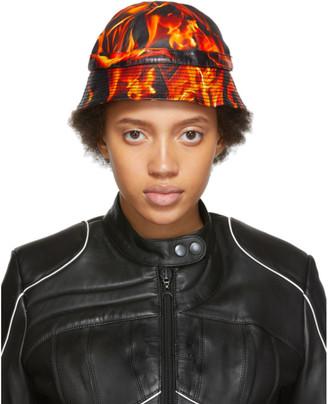 Marine Serre SSENSE Exclusive Black and Orange Leather Fire Bucket Hat