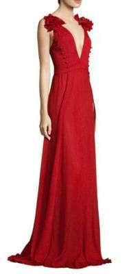 Prabal Gurung Crinkle Chiffon Gown