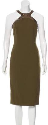 Michael Kors Leather-Trimmed Virgin Wool Dress