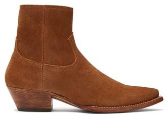 Saint Laurent Lukas Western Suede Ankle Boots - Womens - Tan