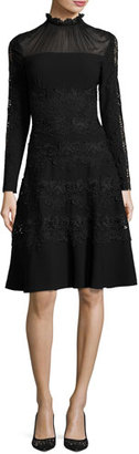 Elie Tahari Cora Ruffle-Collar Embroidered A-Line Dress, Black $548 thestylecure.com