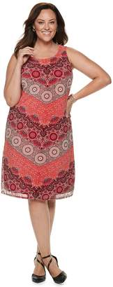 Dana Buchman Plus Size Printed Mesh Overlay Sheath Dress