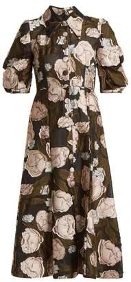 Erdem Gisella Peony Fil Coupe Organza Dress - Womens - Black Pink