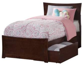 Atlantic Furniture Metro Platform Bed with Matching Foot Board with 2 Urban Bed Drawers, Multiple Colors and Sizes