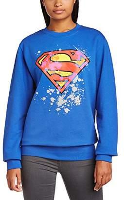 DC Comics Women's Official Superman Splatter Logo Crew Neck Long Sleeve Sweatshirt,(Manufacturer Size:Small)