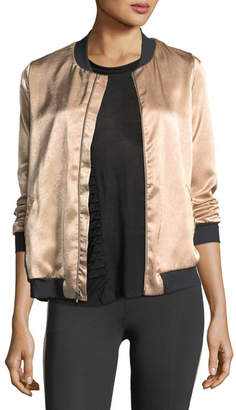 Koral Activewear Base Crepe Back Satin Bomber Jacket